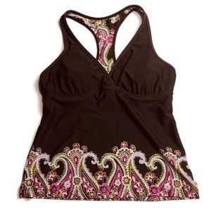 Athleta Racerback Tank Top Brown Paisley Pink Bra